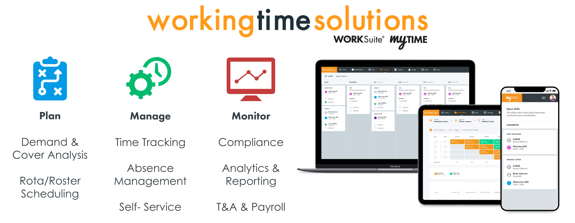 Cloud workforce management software for shift patterns scheduling rotas and rosters